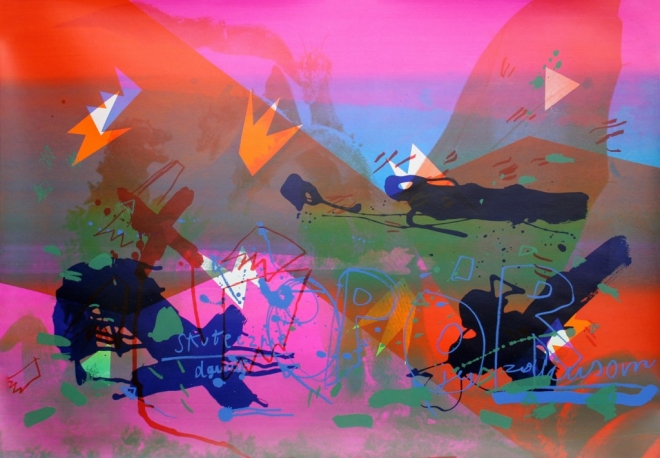 Przemysław Tyszkiewicz, Chabrowy Księżyc Pól Mrozowych, 2011, akwaforta akwatinta 67 x 94